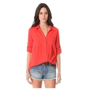 Joie Pinot Long Sleeve Button Down Top Cherry Red
